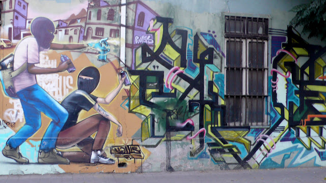 graffiti street art in barrio brasil, santiago de chile