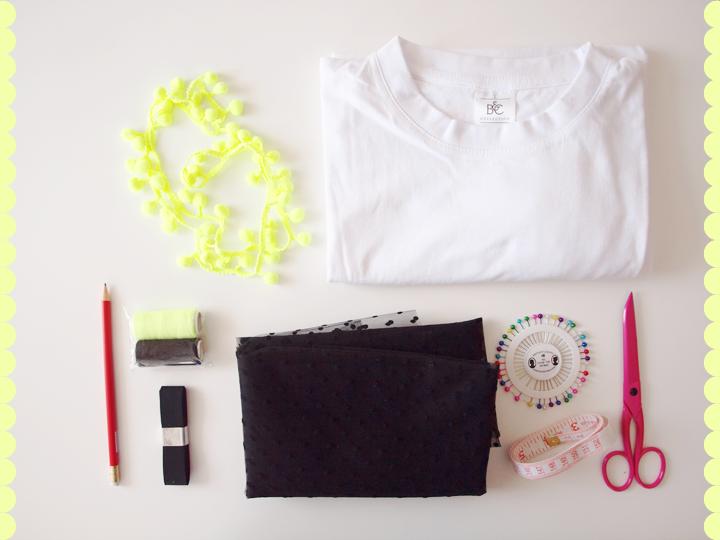 matériel diy customiser un tshirt blanc