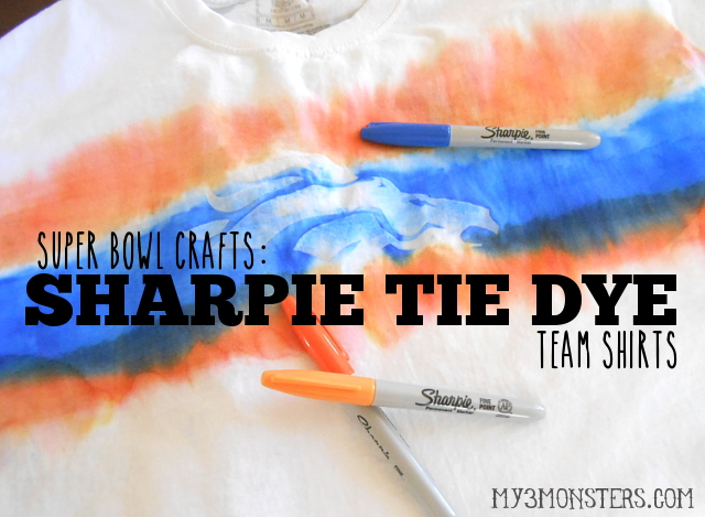 Super Bowl Crafts:  Sharpie Tie Dye Team Shirts at my3monsters.com