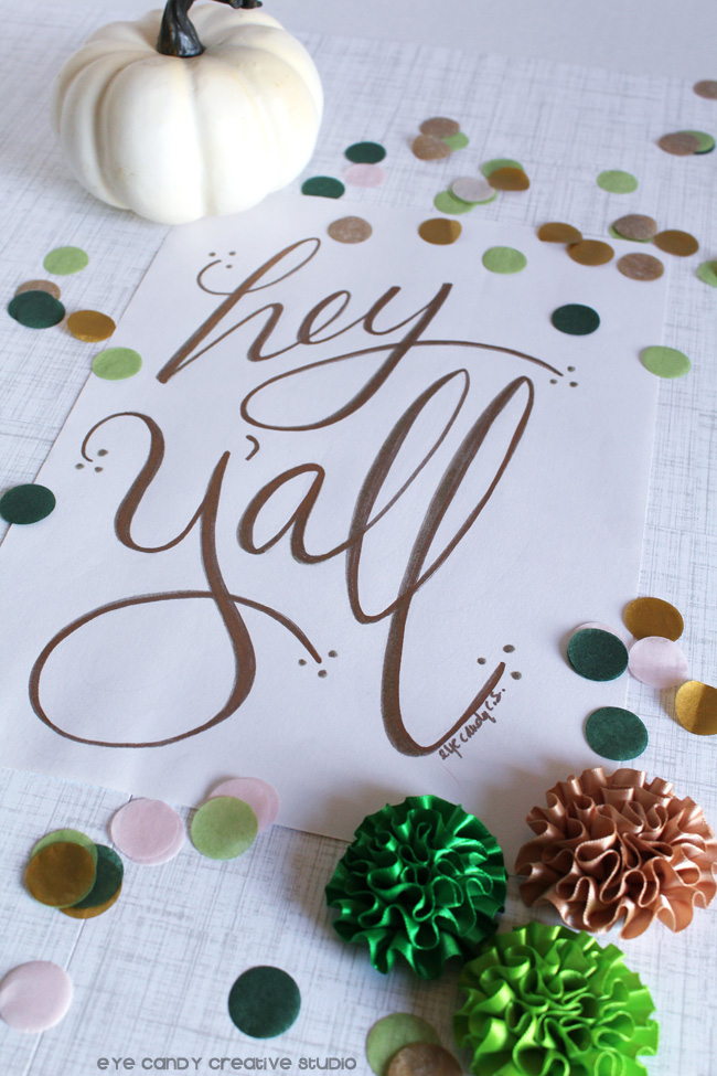pumpkin, confetti, gold lettered art print, hey yall, white pumpkin, greens