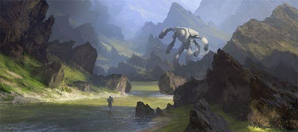 Geoffroy Thoorens djahalland deviantart ilustrações arte conceitual guerras futuristas batalhas tecnologia Robô gigante
