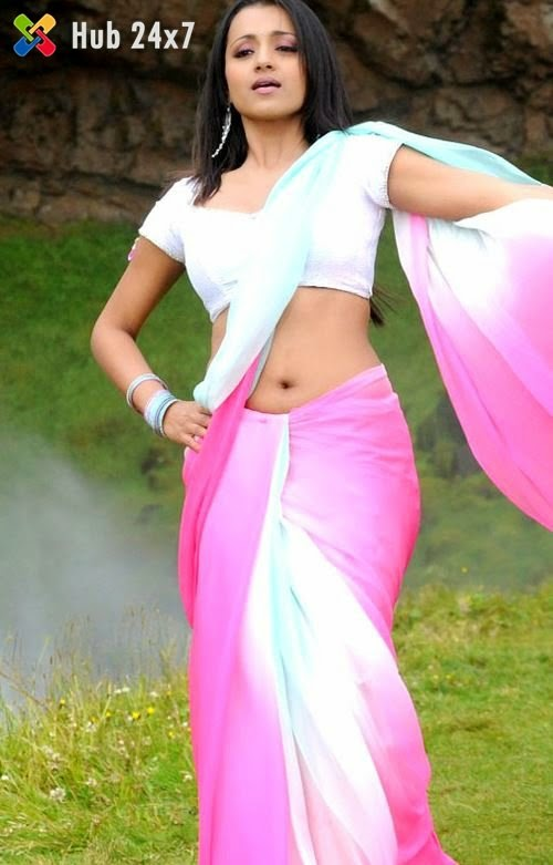 Trisha Krishnan Hot and Sexy Navel in Saree - Hub 24x7