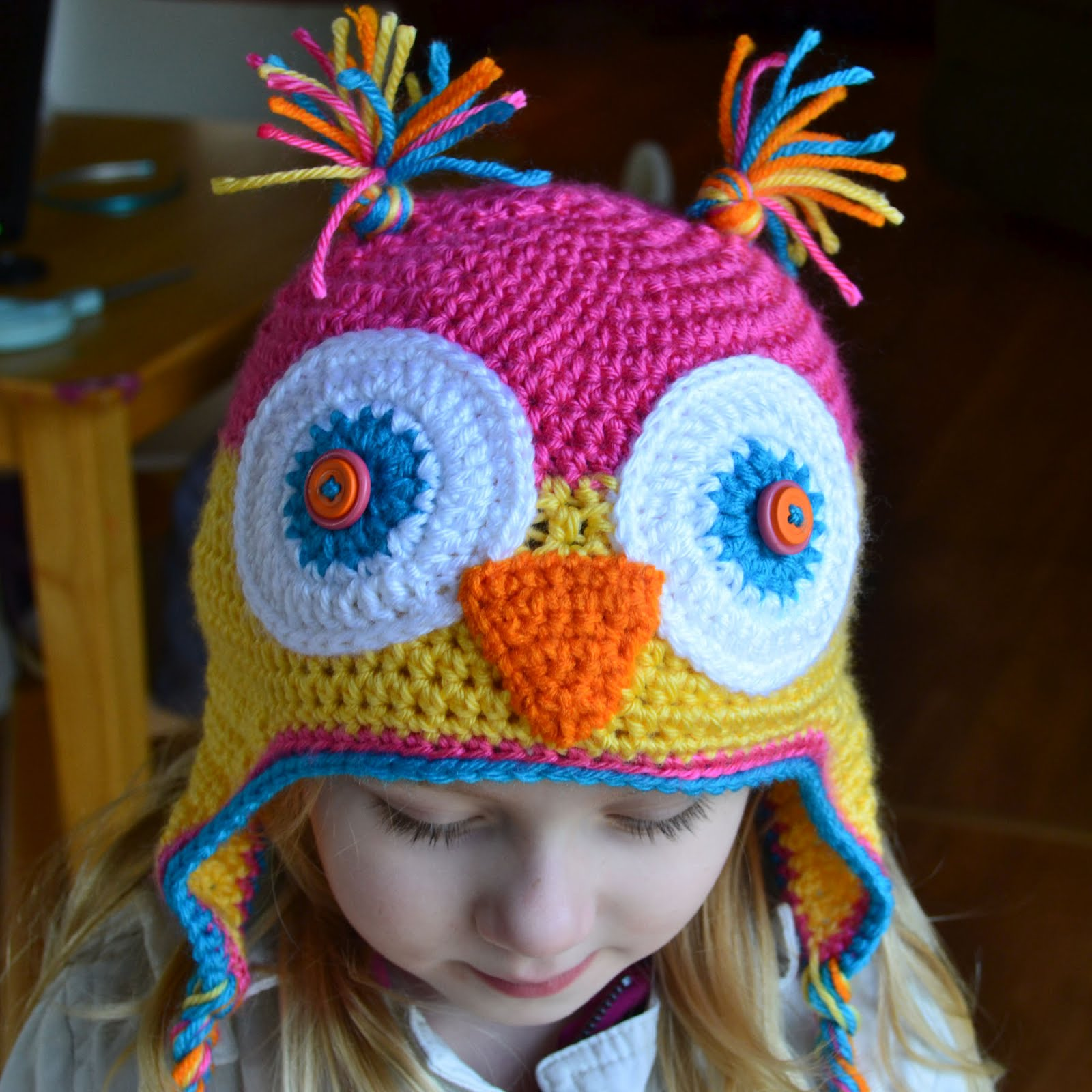 Free Crochet Pattern For Child s Owl Hat : Crochet in Color: Another Finished Project...YAaY!!