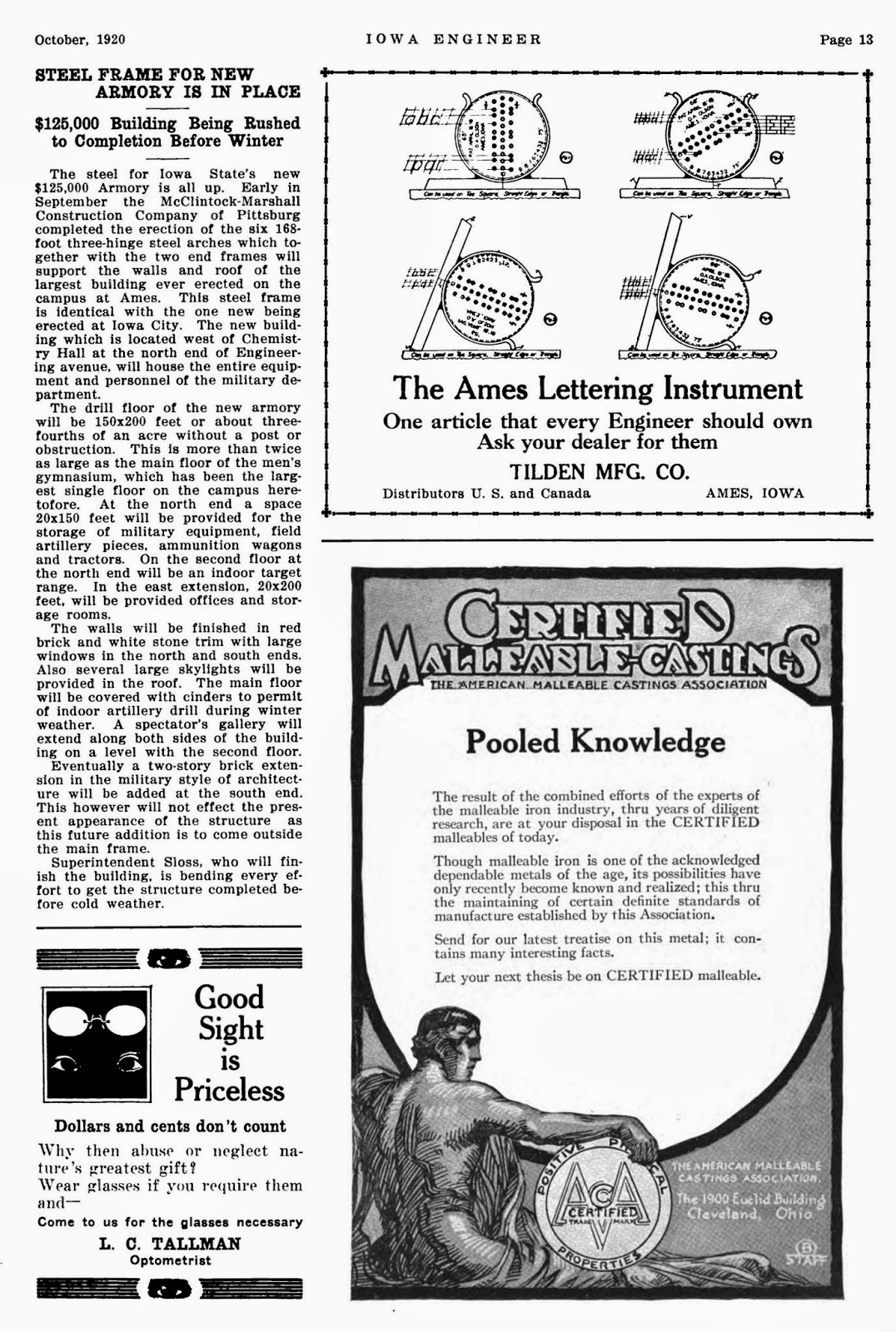 Tenth letter of the alphabet creator oa olson ames lettering a new design called the ames lettering instrument was featured in the iowa engineer february 1920 and advertised in the iowa engineer october 1920 malvernweather Image collections
