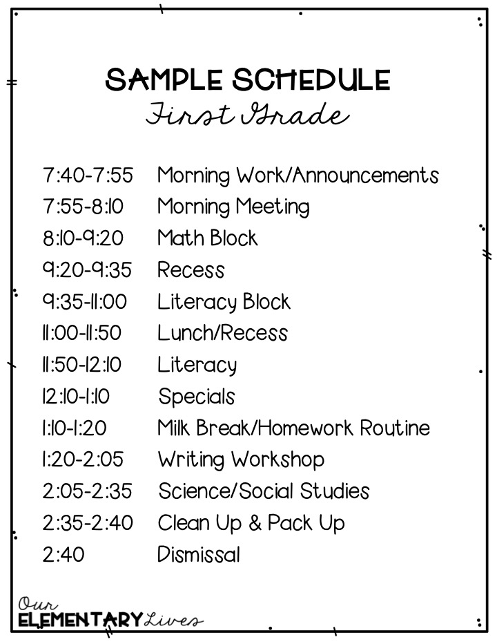 How To Fit It All In A First Grade Schedule Our Elementary Lives