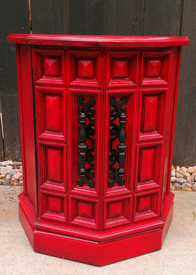 shabby chic red furniture. glossy cherry red end table shabby chic furniture