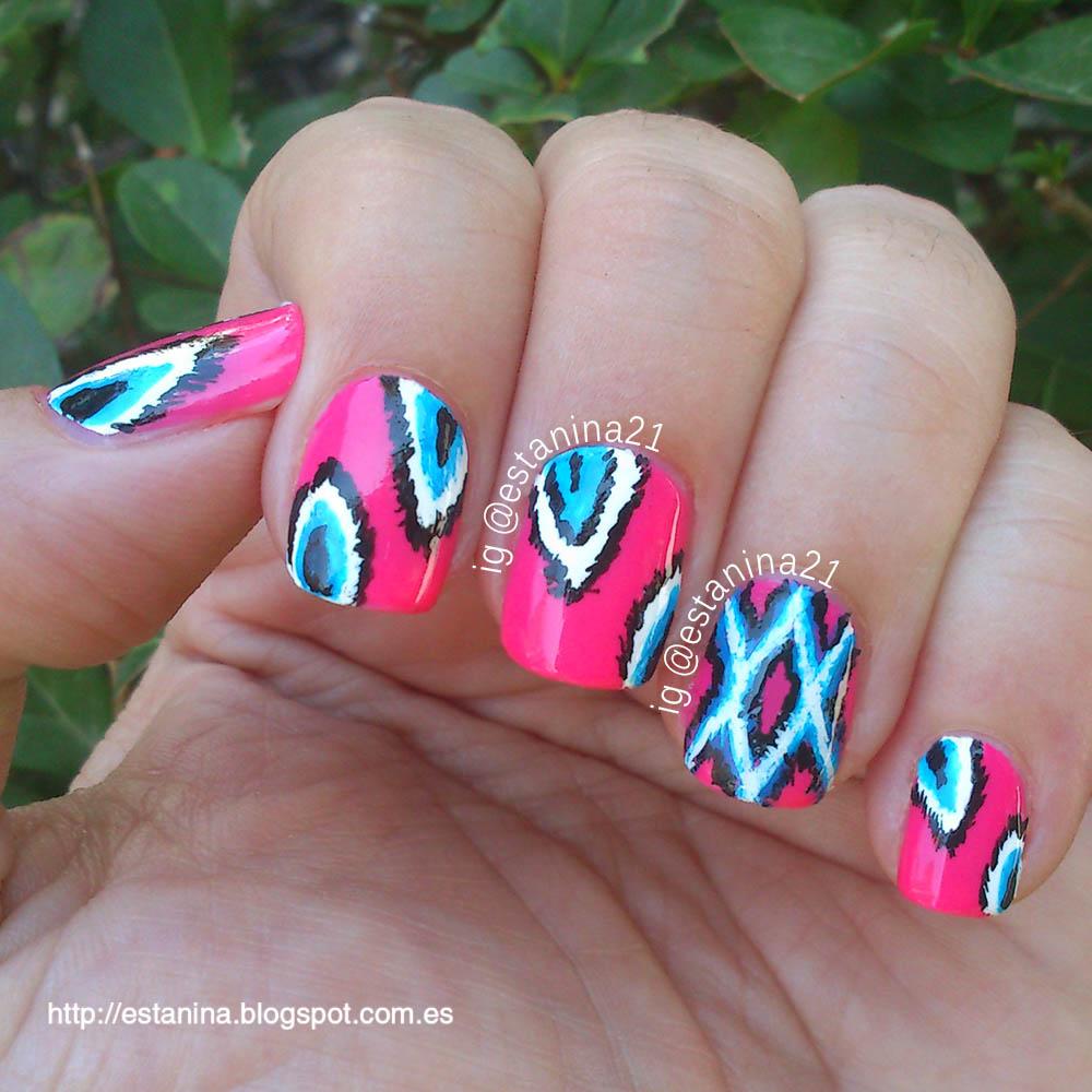 pink-neon-ikat-nail-art