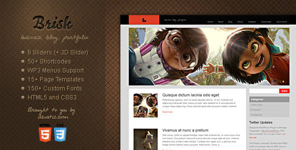 Brisk WordPress Theme Free Download by ThemeForest.