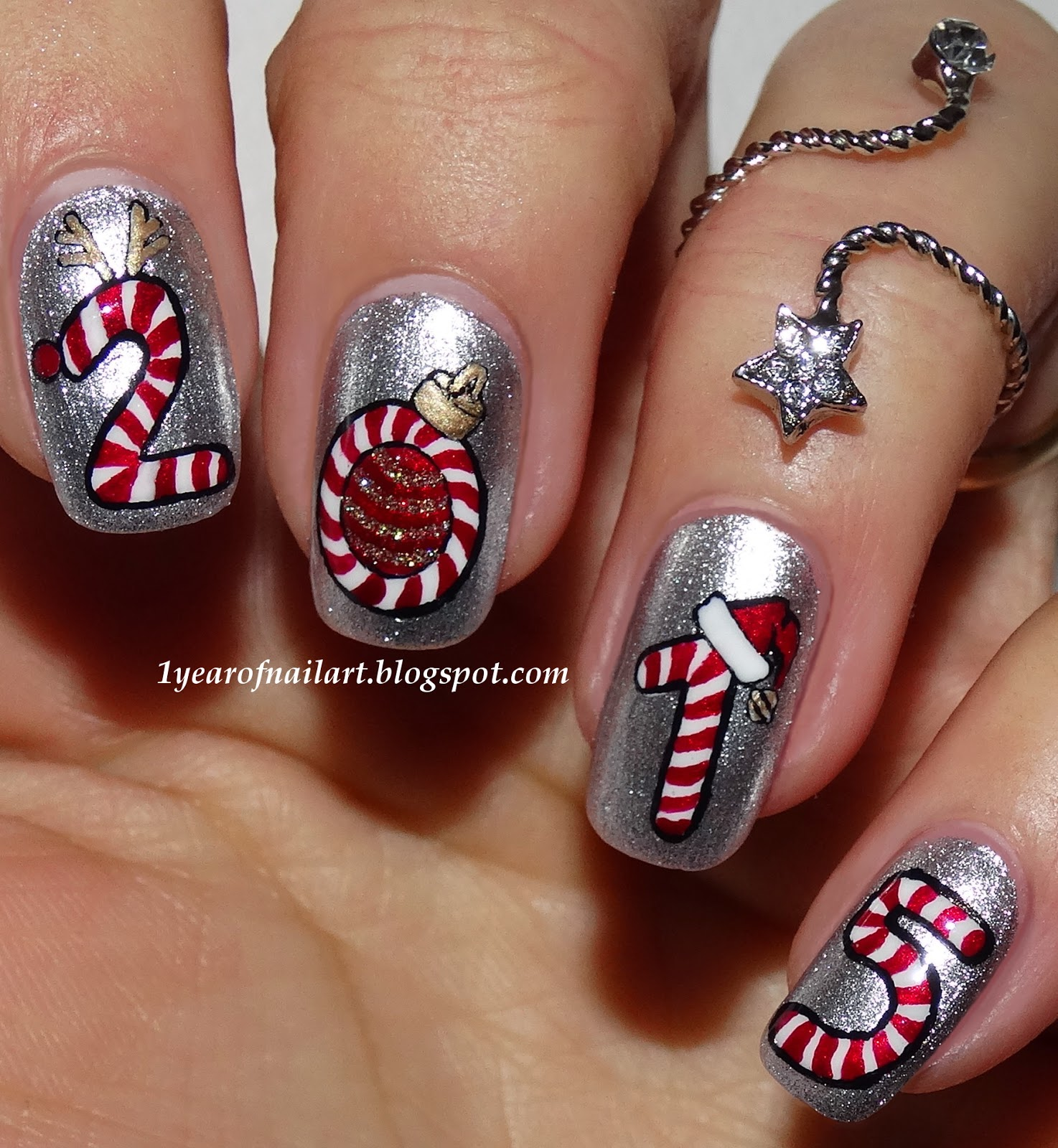 365 days of nail art four candy cane prinsesfo Choice Image