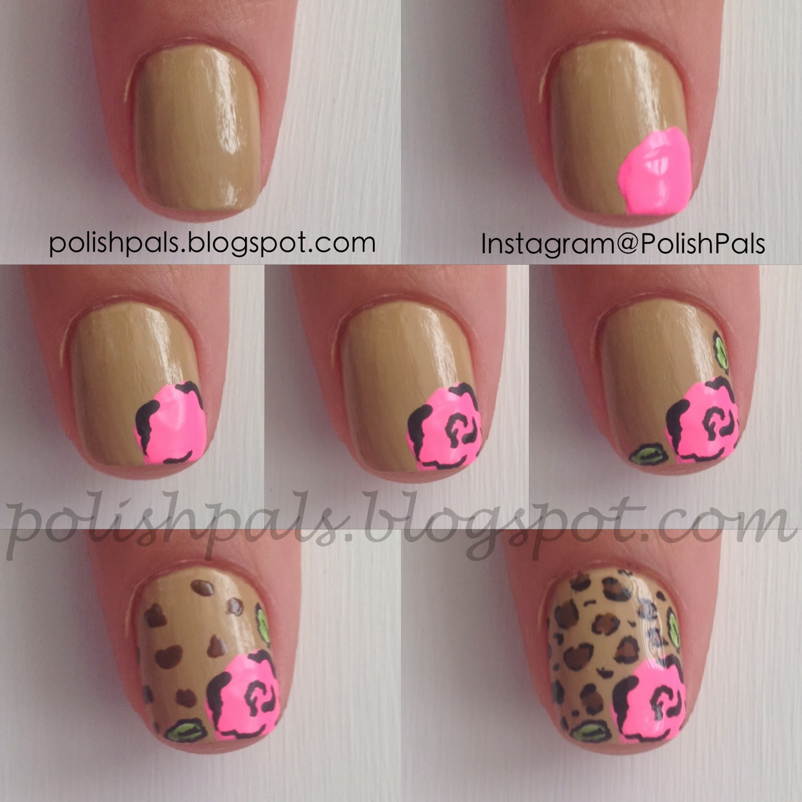 Rose Nail Art Tutorial: Polish Pals: Leopard Rose Nails (+ Tutorial