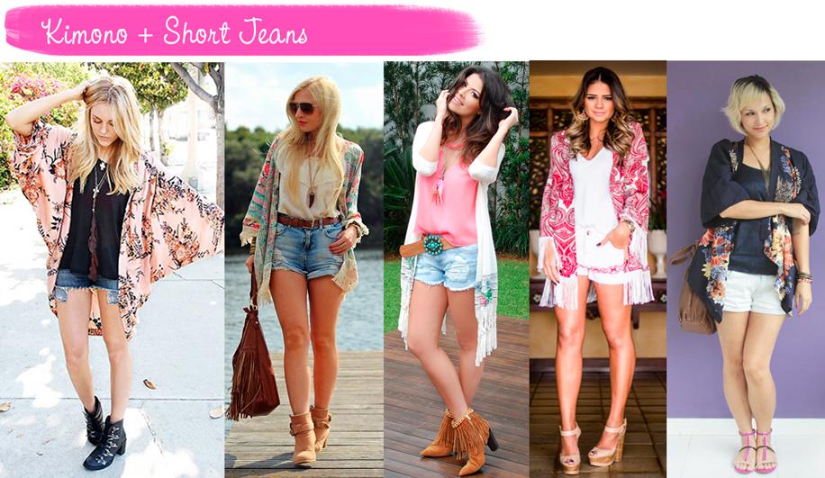Como usar, Kimono, short, jeans, tendência