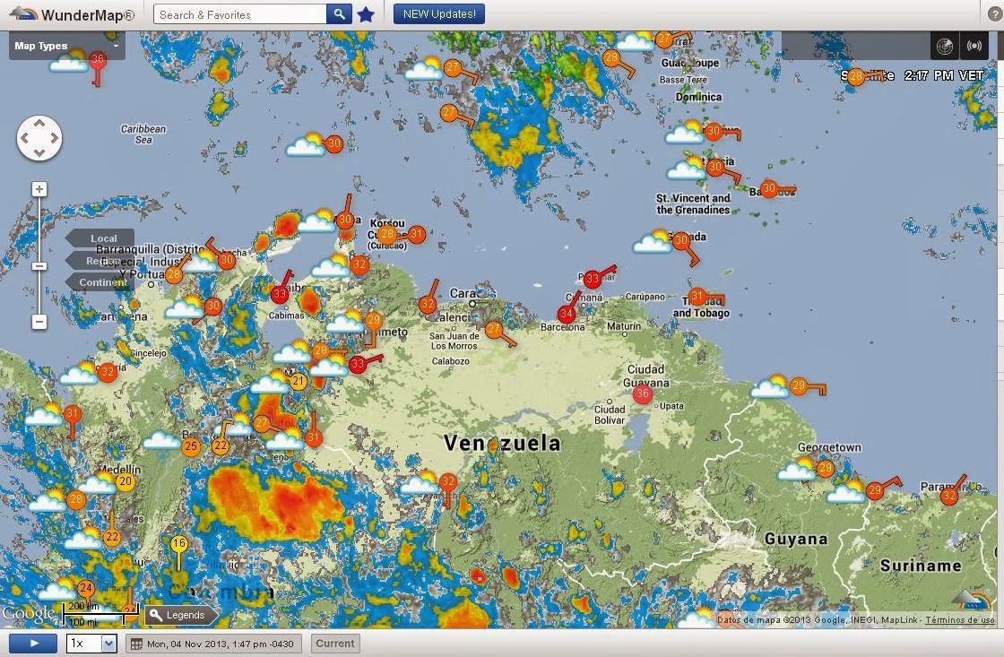 Clima en Venezuela (WunderMap)