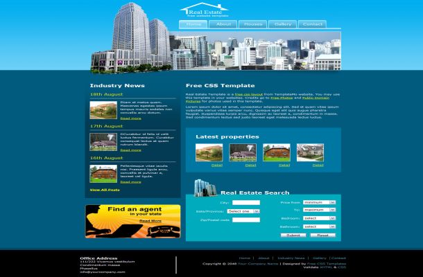 Free HTML Real Estate Blue CSS website Template