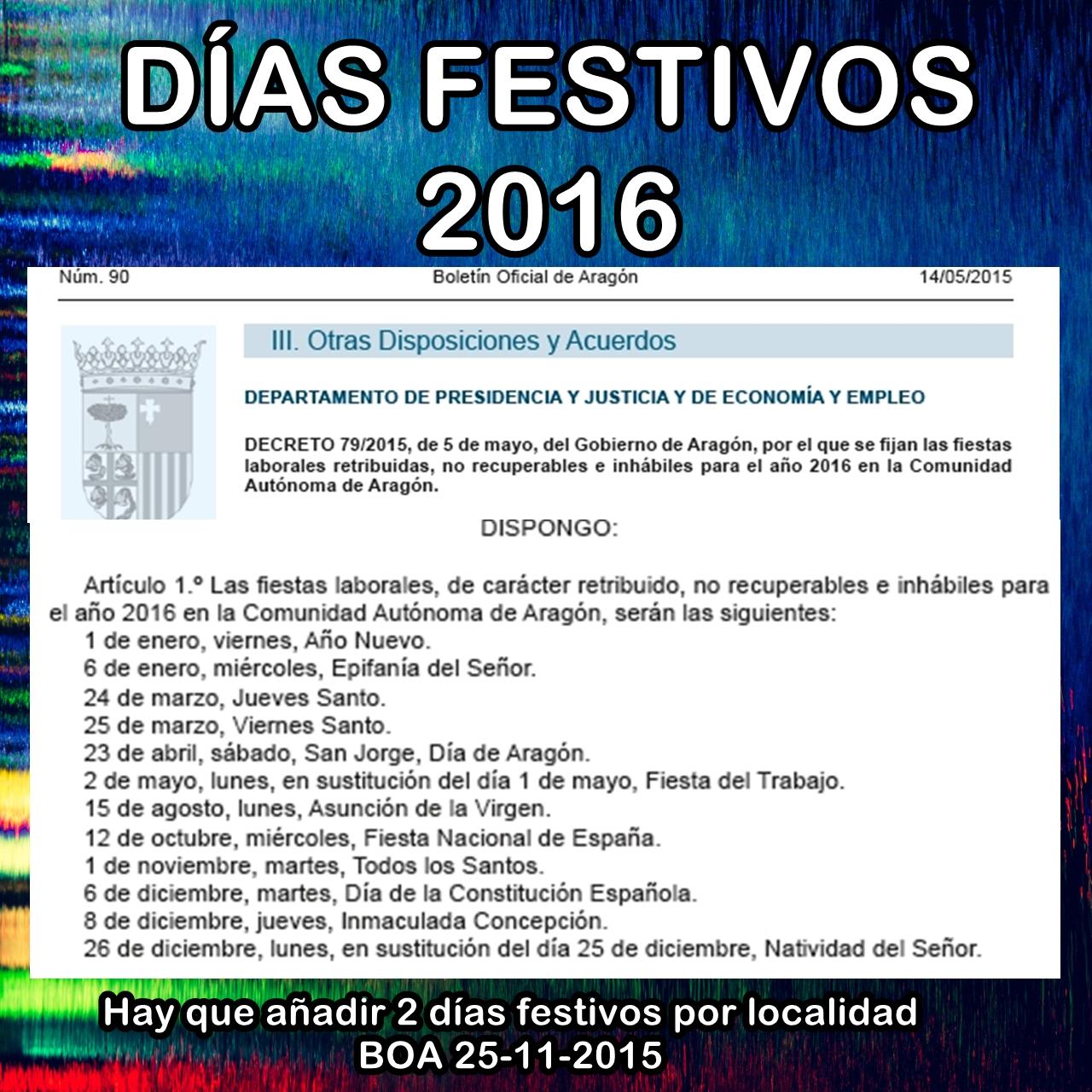 DÍAS FESTIVOS 2016
