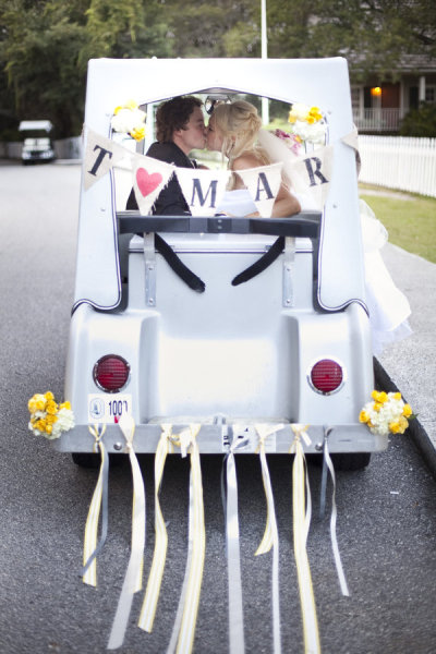 Bald Head Island Club Weddings: Reason #4 - Top 29 Favorite things Golf Cart Decorated For Wedding on ford think electric golf cart, burning man golf cart, pink golf cart,