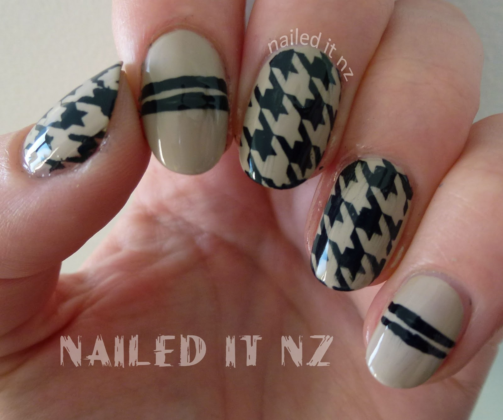 Nude & Black Houndstooth stamping with BM-322