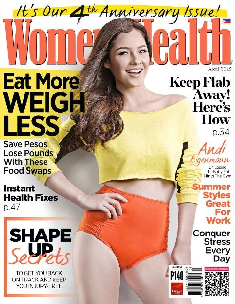 Andi Eigenmann Covers Women's Health April 2013 Issue