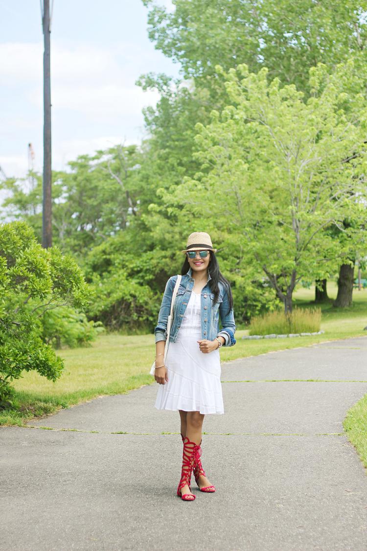 White Eyelet Dress, Gap Denim Jacket, Breckelles Gladiator, Red Gladiator Sandals, Blue Eyeglasses