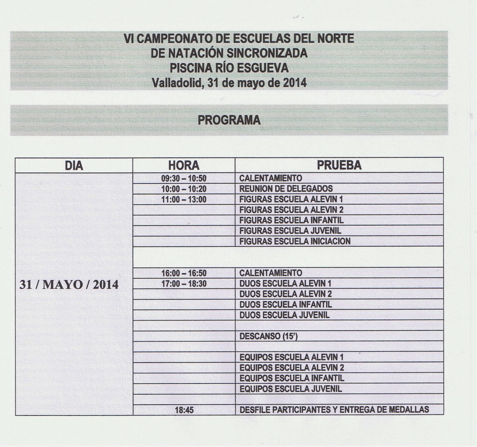 Sincro avil s vi campeonato de escuelas del norte for Piscina rio esgueva