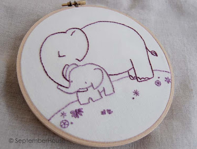 baby elephant hand embroidery pattern