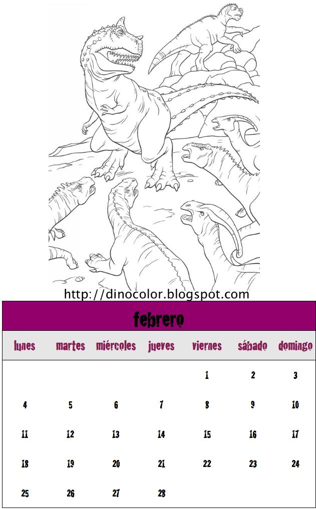 Dinosaurios para colorear: Calendario dinosaurios 2013: Febrero