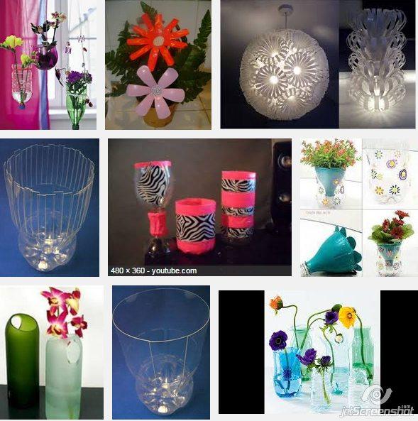 floreros con botellas plásticas recicladas