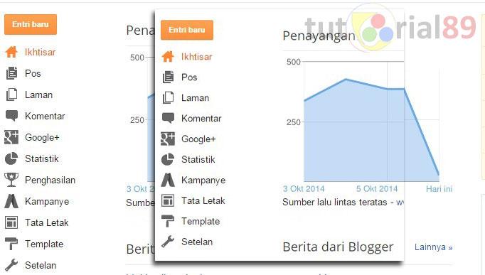 Cara menampilkan menu Penghasian di dashboard blogger
