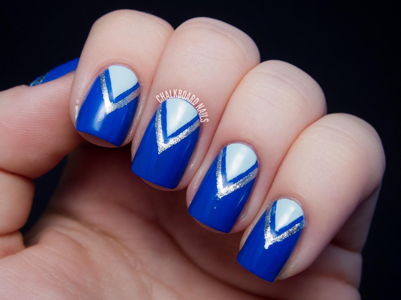 31dc2013 Day 05 Blue V Tape Manicure Chalkboard Nails Nail Art Blog
