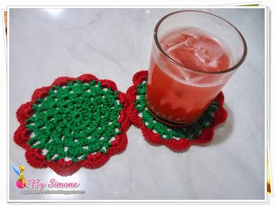 Coasters de crochê, coasters de crochê natal