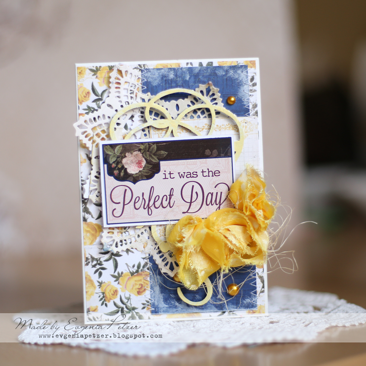 Perfect Day Card by Evgenia Petzer using BoBunny Rose Cafe