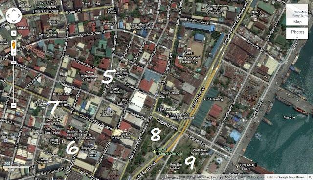 Cebu City Walking Tour of Heritage Sites Map