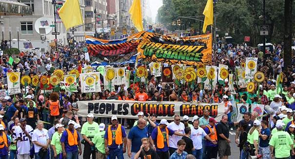 The People's Climate March Kicked off at Columbus Circle this Morning