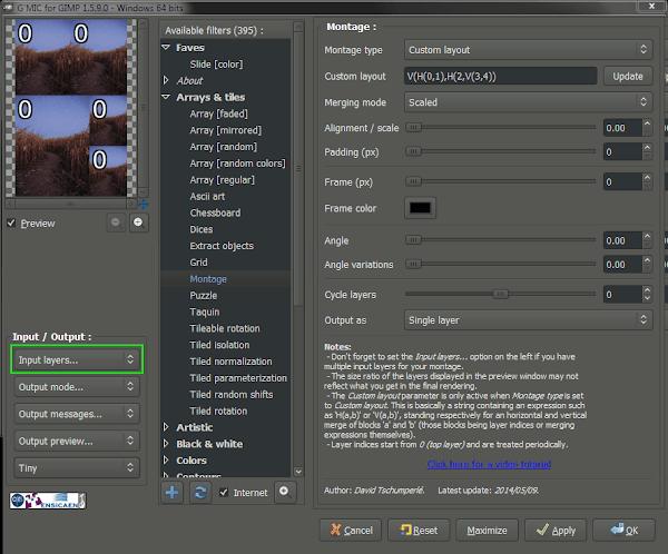 Pat David G'MIC montage command GUI interface