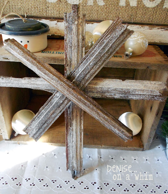 Broken window pieces become a rustic Christmas star!