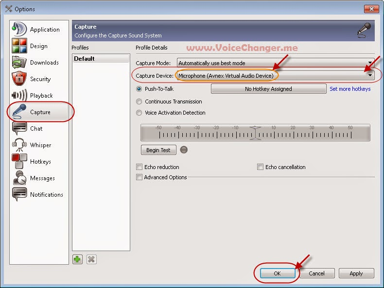 screenshot of using voice changer in teamspeak - step 2 - microphone settings