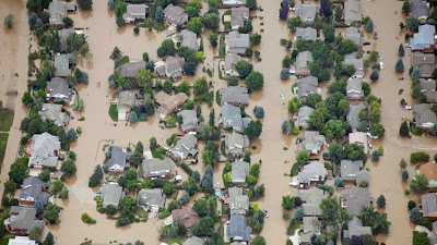 Flood in Colorado USA, global warming, climate change