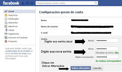 Alterando senha do Facebook