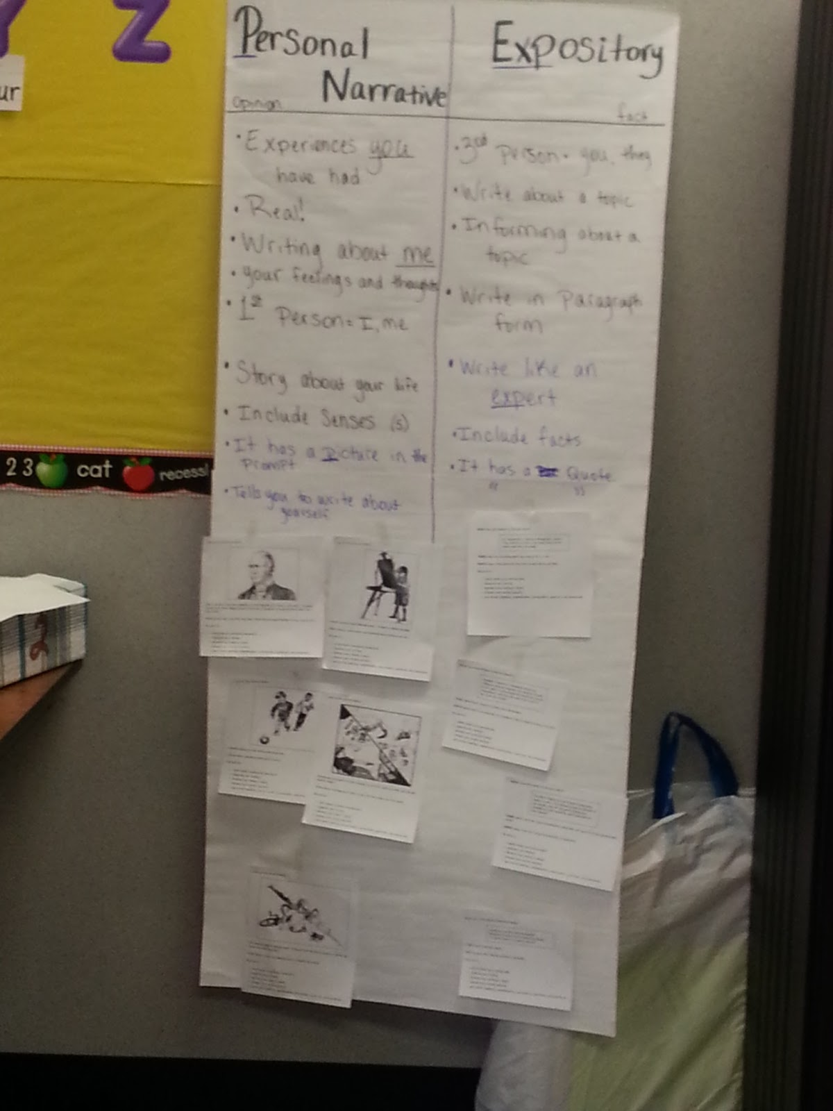 photo of t-chart listing elements of personal narrative and expository prompts