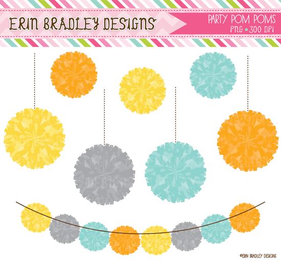 erin bradley designs: new! party pom pom clipart sets
