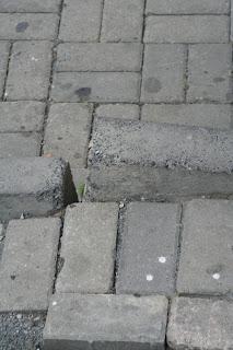 Uneven bricks.