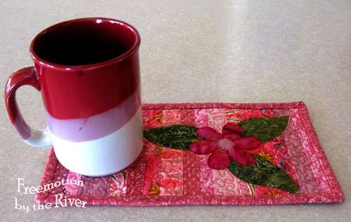 Pink String mug rug with cup - Freemotion by the River