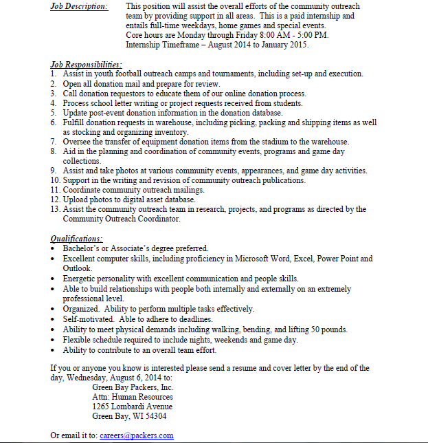 Sports Business Club at UWMadison JobInternship Opportunities – Business Intern Job Description
