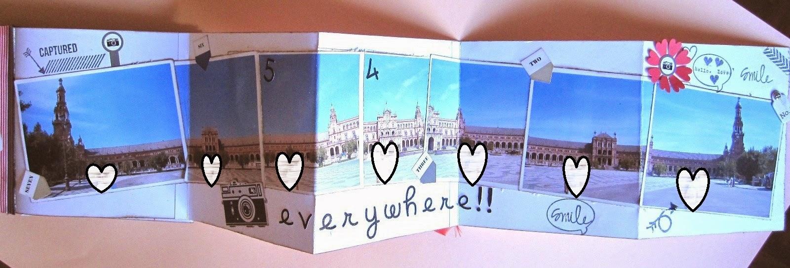 foto 12 decoración interior LOVE mini-álbum con desplegable en zig-zag con fotos plaza de España de Sevilla decoradas con stickers y sellos de scrapbooking
