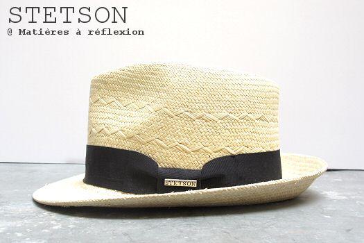 Chapeau Panama paille Stetson chapeau beige ruban noir