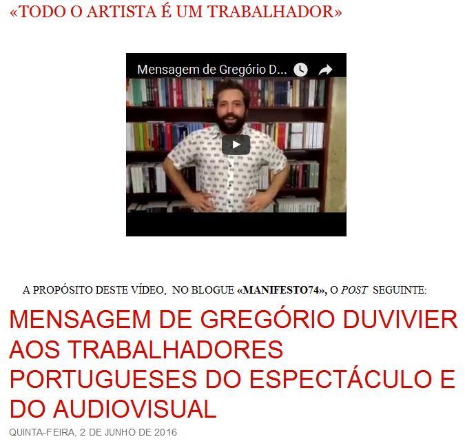 ARTISTAS E TRABALHADORES