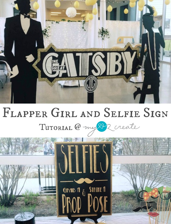 Great ideas for a Gatsby themed party!  How to create a life sized silhouette cut out, and a selfie sign.