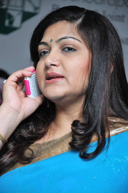 Kushboo Sundar In Saree PhotosActress Kushboo Blue Saree Stills gallery pictures