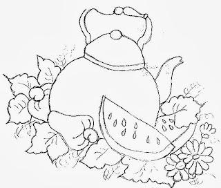 desenho de chaleira com melancia, cajus e flores