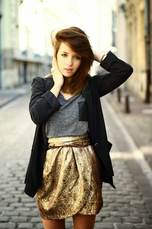 Grey Shirt With Black Coat And Golden Color Skirt