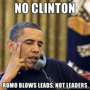 no clinton romo blows leads, not leaders